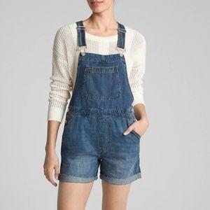 NWT GAP Medium Wash Jean Short Overalls